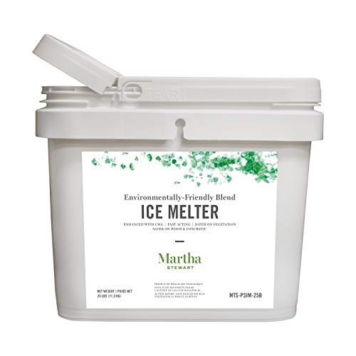 Martha Stewart 25LB Blended Ice Melter | Resealable Bucket/Scoop | Environmentally Friendly | Pet Safe