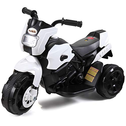 TOBBI Kids Electric Ride On Motorcycle 6V Battery Power 3 Wheel Bicycle White