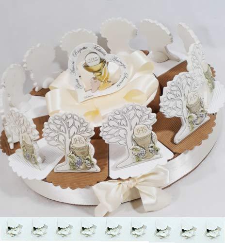 Torta bomboniera Comunione Femmina Maschio Confetti crispo Oggetti Immagine Sacra della Comunione (Torta 12 fette + Centrale Albero della Vita)