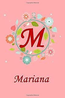 M: Mariana: Mariana Monogrammed Personalised Custom Name Journal / Notebook / Diary - 6x9 - Letter M Monogram - Spring Flo...