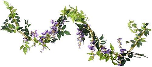 UUPP 2Pcs 6.6Ft Artificial Flowers Silk Wisteria Garland Fake Hanging Green Leaf Flower Ivy Vines for Home Garden Wedding Arch Decor, Purple