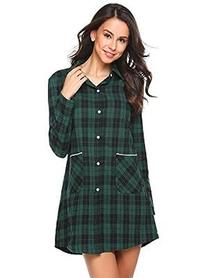 Ekouaer Womens Cotton Nightgown Button Down Plaid Boyfriend Shirt Sleepdress