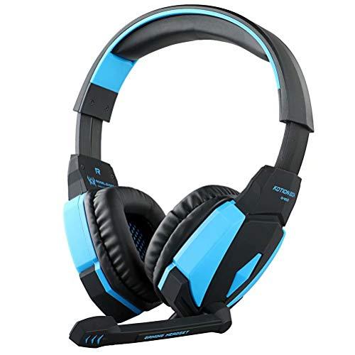 CSZH USB Stéréo Gaming Casque Écouteurs Headband avec microphone Contrôle du volume Lumière LED pour Xbox One PC tablette Tablet Mac Smart Phone (Noir Bleu)