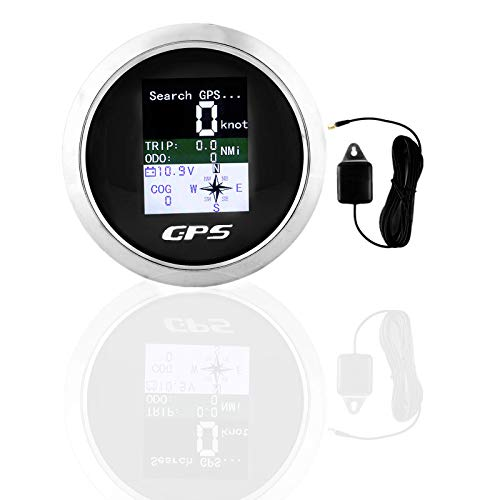 Velocímetro GPS Velocímetro Odómetro para Coche Barco 85mm(Negro)