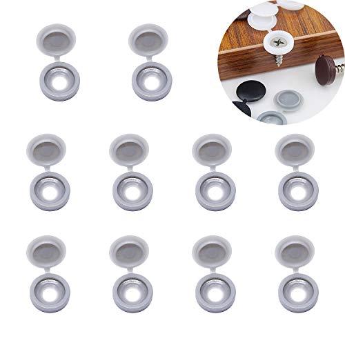 YouU 50 Tapas de Plástico con Bisagras para Tornillos, Tapas Abatibles para Arandelas, 5 colores a elegir: beige, gris claro, marrón...