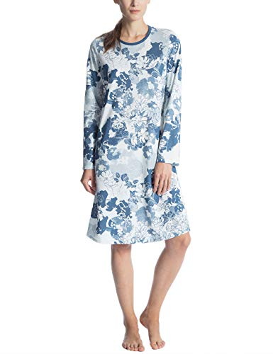 CALIDA Damen Soft Jersey Fun Nachhemd Nachthemd 100 cm Langarm, Mehrfarbig (Nimes Blue 487), X-Small