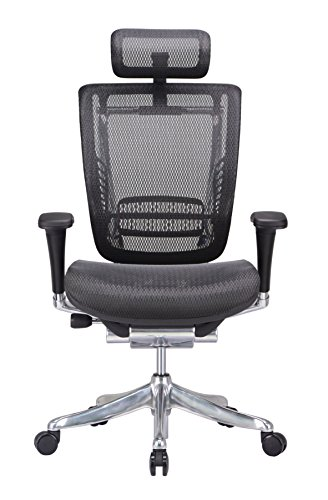 GM Seating Enklave XL Mesh Executive Hi Swivel Chair Chrome Base with Headrest, Black