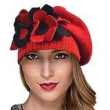 Ruphedy Barett Damen Baskenmützen Wolle Beanie Mütze Warme Wintermütze Hy022 (Hy023-Rot)