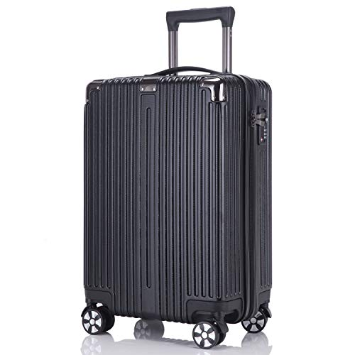 レーズ(Reezu) スーツケース ファスナー 軽量 キャリーケース ジッパー 耐衝撃 キャリーケース 機内持込 キャリーバッグ 人気 大型 TSAロック付 静音 旅行出張 1年保証 アップグレード版 ブラック Black Mサイズ 約63L