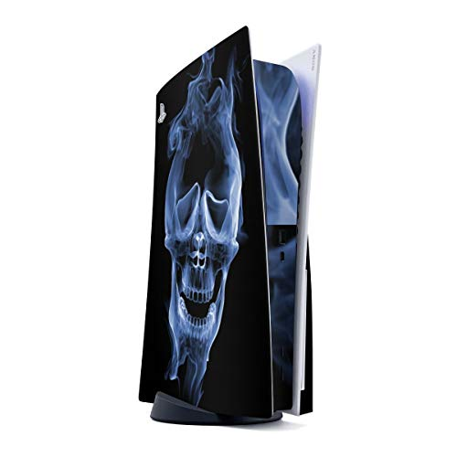 DeinDesign Skin kompatibel mit Sony Playstation 5 PS5 Disc Edition Folie Sticker Totenkopf Rauch Halloween