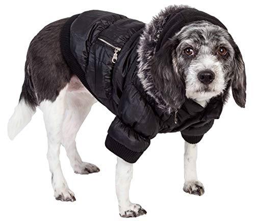 PET LIFE Classic Metallic Fashion Pet Dog Coat Jacket Parka w/ 3M Insulation and Removable Hood, Large, Jet Black