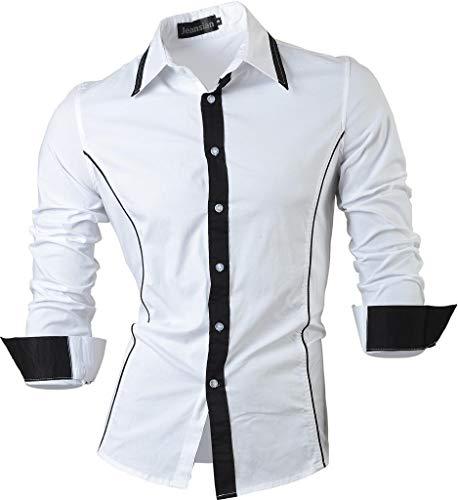 jeansian Uomo Camicie Casual Classiche Manica Lunga Slim Fit Men Shirts 8015 White M