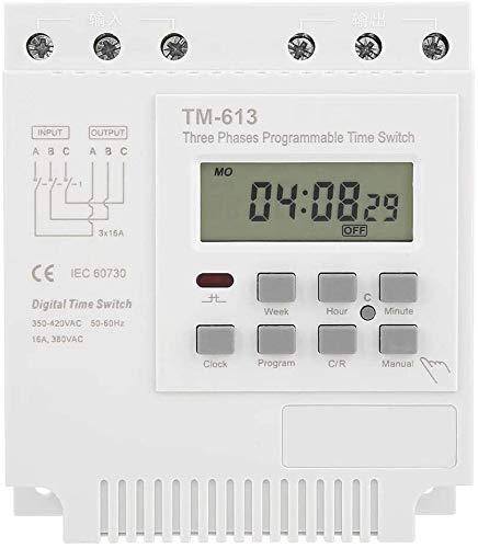 Útil 380V Relé de tiempo programable, TM-163 50-60Hz Mini Power Off Smart Digital Semanal Programable Control Programable Interruptor de temporizador de potencia, 3 fases Pescado Estanque Oxigenación,