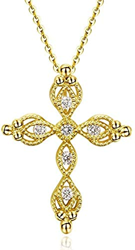 Carleen 14K Solid Yellow Gold 0.107cttw Diamond Dainty Crucifix Cross Accent Pendant Necklace for Women Girls, 16'+2' Extender 14K Solid Yellow Gold Chain (F-G Color, SI Clarity)
