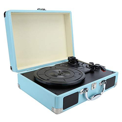 Tocadiscos de vinilo retro, diseño de maleta portátil, tocadiscos de vinilo vintage con altavoces estéreo, tocadiscos, reproductor de CD, transmisión por correa de 3 velocidades, transmisión (yo)