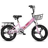 Tuuertge Bicicleta plegable plegable Bicicleta infantil Rueda de una pieza 6-10 años Niñas Primaria Coche, Rosa, Con Cesta