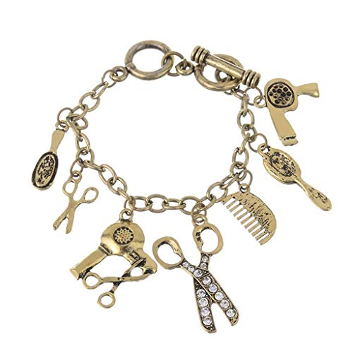 NHLBD Personalisierter Kunstschmuck, Mode Schere Haartrockner Kamm Spiegel Anhänger Retro Armband Armband Zubehör Kleines Geschenk