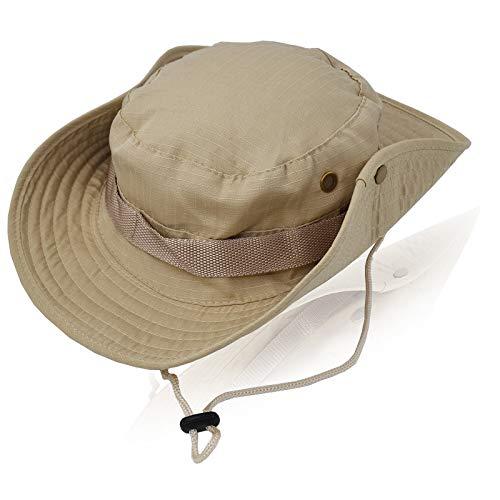 Buschhut Herren Damen Mesh Bucket Boonie Hat Breite Krempe Sonnenhut mit Kinnband Fischermütze Outdoor Angelhut (Khaki)