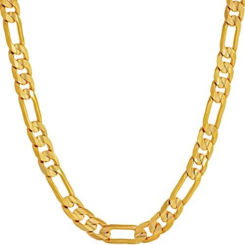 LIFETIME JEWELRY Collana a catena da 6 mm ro per uomo e donna placcato oro 24 k, Metallo, Senza pietre preziose,