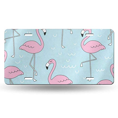 FunnyCustom License Plate Frame Flamingo Pink Personalized Aluminum Metal Tag Holder Waterproof Decoration 12 x 6 Inch