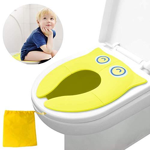 Sedile per vasino per WC, copri vasino portatile, sedile per WC pieghevole da viaggio, stalla di aggiornamento con cuscinetti in silicone antiscivolo (giallo)