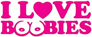 Bamfdecals I Love Boobies Heart and Stylized Text Die-Cut Vinyl Transfer Decal - Small - Pink