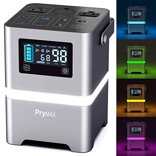 PRYMAX Portable Generator, 231Wh Portable Power Station with Touch-Screen Button&Mood Lighting,110V/200W Pure Sine Wave 2 AC Outlets,QC3.0 USB, Solar Generator for Home Use Camping Travel