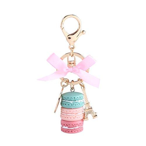 Macaron Schlüsselanhänger Eiffelturm Tasche Anhänger Harz Keychain Kuchen Schlüsselbund Nette Geldbörse Dekoration Geschenk(Grün)