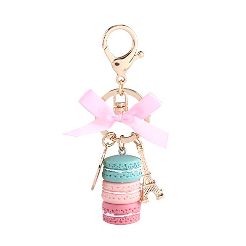 Colorful Cute Macaron Keychain Ring Eiffel Tower Macaron Charm Keychain Bag Purse Decoration for Children Birthday Gift(Green)