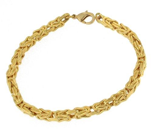Königsarmband Gold Double, 4 mm quadratisch, 21 cm, Goldarmband Herren-Armband Damen Geschenk Schmuck ab Fabrik Italien tendenze BZGY4-21