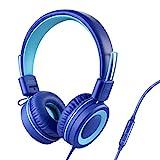 POWMEE P10 Kids Headphones with Microphone Stereo Headphones for Children Boys Girls,Adjustable 85dB/94dB Volume Control Foldable On-Ear Headphone with Microphone for School/PC/Cellphone(Blue)