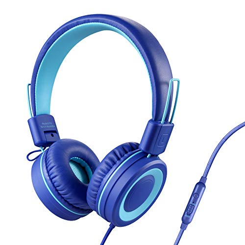 POWMEE P10 Kids Headphones with Microphone Stereo Headphones for Children Boys GirlsAdjustable 85dB/94dB Volume Control Foldable OnEar Headphone with Microphone for School/PC/CellphoneBlue