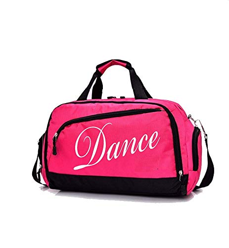 Kids Girls Duffle Bag For Ballet,Dance,After- School Practice,Sports, Cheerleading,Gymnastics,Weekend,Overnight Short Trips,Carry-On Size (Rose dance)