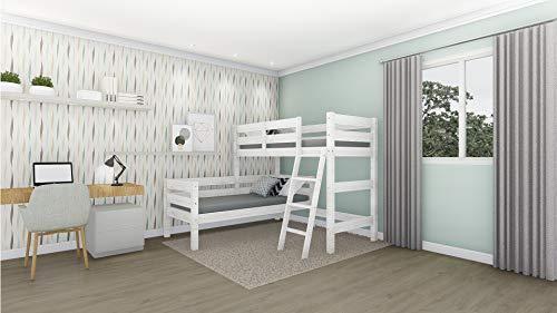 Venprodin Etagenbett aus massivem Kiefernholz in L-Form für Matratzen mit 90 x 190 cm, Weiß