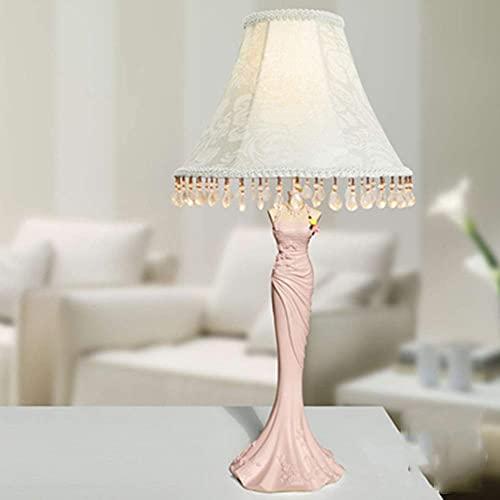 YXKA Lámpara De Mesa De Dormitorio Lámpara De Mesilla De Noche con Pantalla De Diseño De Tela Y Angelito Floral Rosa Elegante