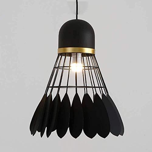 Kroonluchters LED Light, Mode Badminton smeedijzer Kroonluchters Kledingwinkel Stadium Bar Lamp creatieve persoonlijkheid moderne minimalistische bedlampje, Smalldiameter20cm (Color : Black)