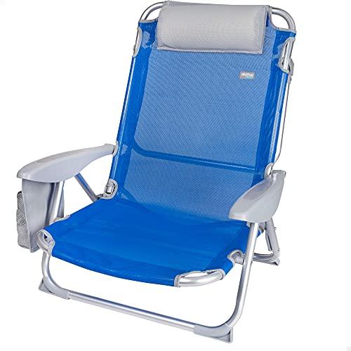 Aktive 62609 - Silla de playa plegable, con cojín, Silla reclinable, 4 posiciones, 62x62x76 cm, altura del asiento 20 cm, asa de transporte, bolsillo lateral, color azul, Aktive Beach