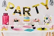 Ideal For Adults & Children's Parties Birthday Theme Bright & Bold Stylish Design with Gold Foiling Everything You Need For Your Party In One Box 57 piece set