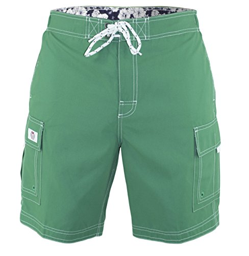 Men's Swim Trunks Solid Color Cargo Style Microfiber Swimsuit Green Small