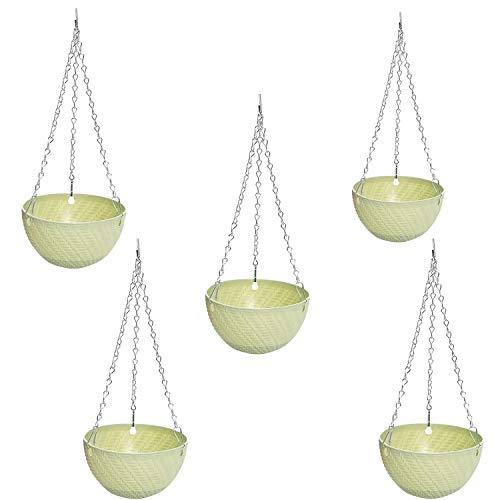 wivarra 5Pcs Round Plastic Hanging Basket Flower Pot 16X10cm Garden Plant Chain Planter Decoration(Green)