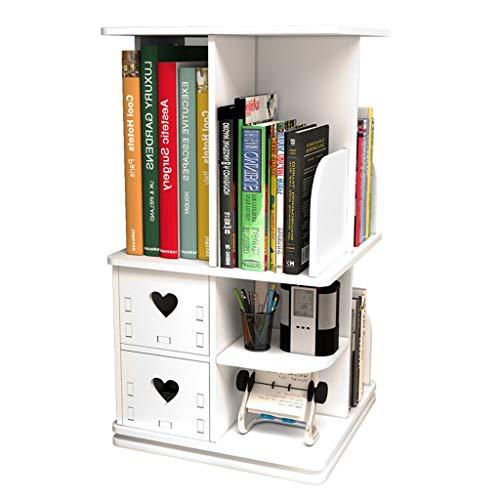 Kantoorkast, rek, rek, draaibaar, eenvoudig 360 graden, opbergdoos, scholieren, kantoor, boekenkast 32 * 24 * 58cm Wit.