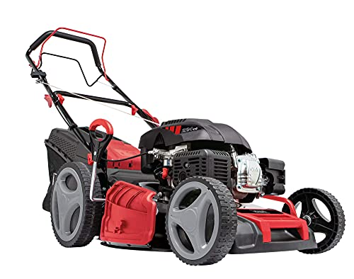 scheppach Benzin Rasenmäher MS225-53 - 7PS | 53 cm Schnittbreite | Radantrieb | 7-fache Schnitthöhenverstellung | 65 Liter Fangkorb | Reinigungsfunktion