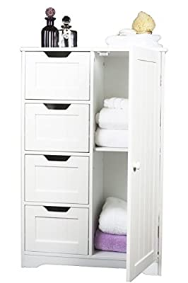 White Wooden Bathroom Cabinet With Four Drawers & Cupboard