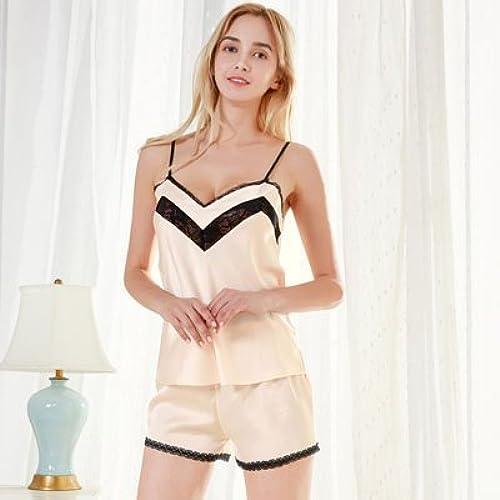 PPOJAS Deux pièces ensembles de pyjamas dentelle et satin col en V ensembles de mode Nouveau design pantalons courts féminins ensemble de nuit d'été