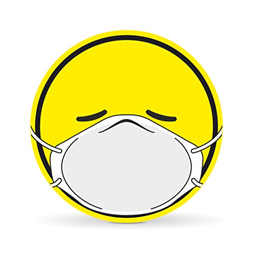 Betriebsausstattung24 Corona Emoji Schutzmaske Auto-Aufkleber | Corona Smily | Sticker für Autos Notebooks Laptop u.v.w. (Folie, 10,0 cm)