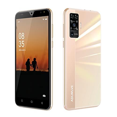 Teléfono Móvil Libres 4G, Android 9.0 Smartphone Libre, 5,5' Smartphone Barato 2GB RAM, 16GB / 64GB ROM, Dual SIM, 5MP+8MP, 3600mAh, Quad Core Smartphone Libre Face ID Movil Barato (Oro)