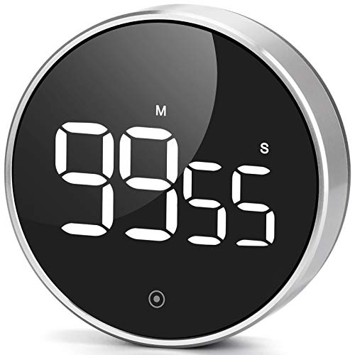 Digital Kitchen Timer, Large LED Magnetic Countdown timers with Constant Bright Function for Classroom, 3 Level Volume Silent Egg Timer for Kids Elderly (4 inch, Glossy Aluminum)