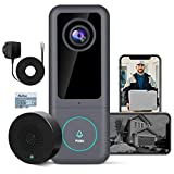 WINVO Smart Video Doorbell Camera (Wired), 2K Ultra HD Doorbell Camera WiFi with Motion Detector (PIR Human), Easy Installation, Video Doorbell with Chime, 32G SD Card, DC Adapter