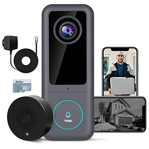 GOWOK Smart Video Doorbell Camera (Wired), 2K Ultra HD Doorbell Camera WiFi with...