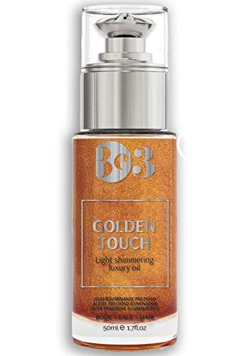 BE3 Shimmering Oil | Golden Touch Aceite Corporal Iluminador | Aceite Brillante, Hidratante, Brillo bronceador para rostro y cuerpo | Body bio- oil 100ml